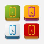 Square button: navigator — Stock Vector