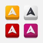Square button: gps — Stock Vector