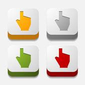 Square button: hand — Stock Vector