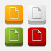 Square button: paper — Stock Vector