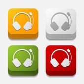 Square button: headphones — Vetorial Stock