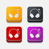 Square button: headphones — Stok Vektör