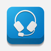 Square button: headphones — Wektor stockowy