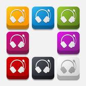 Square button: headphones — Stock Vector