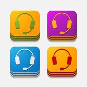 Square button: headphones — 图库矢量图片