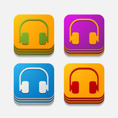Square button: headphones — Stock Vector