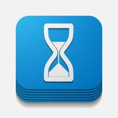 Square button: hourglass — Stock Vector
