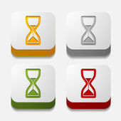Square button: hourglass — Stock Vector