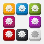Square button: cogwheel — Stock Vector
