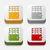 Square button: purse — Stock Vector