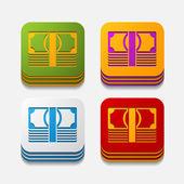 Square button: money — Stock Vector
