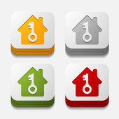 四角形のボタン: 家 — ストックベクタ