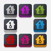 Square button: house — 图库矢量图片