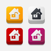 Square button: house — Stock Vector