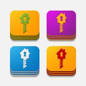 Square button: key — Stock Vector