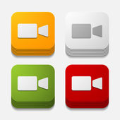 Square button: video — Stock Vector
