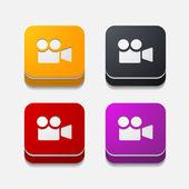 Square button: video — Stock Vector