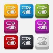Square button: pen — Stock Vector