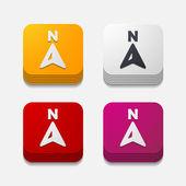 Square button: compass — Stock Vector