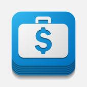 Square button: portfolio — Stock Vector