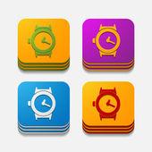 Square button: watch — Stockvektor
