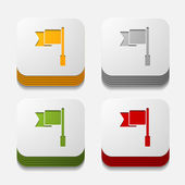 Square button: flag — Stock Vector