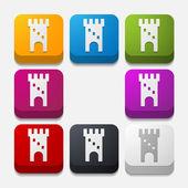 Botão quadrado: Fortaleza — Vetor de Stock