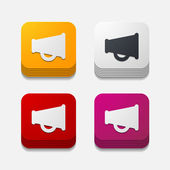 Square button: megaphone — Wektor stockowy