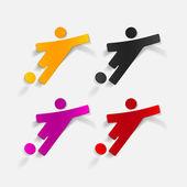 Realistic design element: football player — Vector de stock