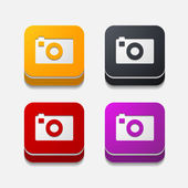 Square button: photo — Stock Vector