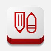 Square button: pencil — Stock Vector