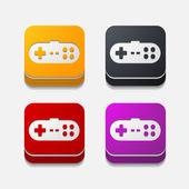Square button: joystick — Stock Vector