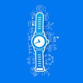 Drawing business formulas: watch — ストックベクタ