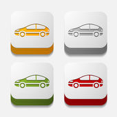 Square button: car — Stock Vector