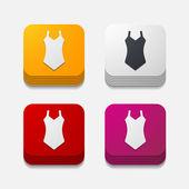 Square button: swimsuit — Stock vektor