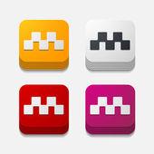 Square button: taxi — Stock Vector