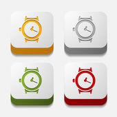 Square button: watch — Vettoriale Stock