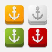 Square button: anchor — Stock Vector