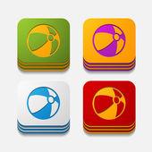 Square button: ball — Stock Vector