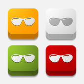 Square button: sunglasses — Stock Vector