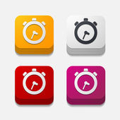 Square button: watch — Stock vektor