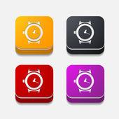 方形按钮: 手表 — 图库矢量图片