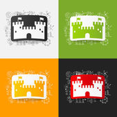 Fortress stickers set — Stock Vector