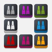 Square button: flipper — Stock Vector