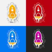 Rocket stickers set — Stock Vector