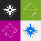 Compass stickers set — Stockvektor