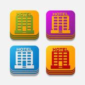 Square button: hotel — Stock Vector