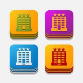 Vierkante knop: hotel — Stockvector