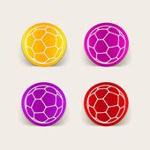 Adesivos de bola de futebol — Vetor de Stock