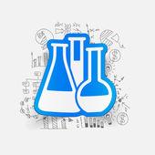 Etiqueta engomada de los tubos de la química — Vector de stock